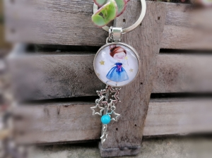 Schlüsselanhänger, Glascabochon, Sternenkind, Sterne, Geschenk für Frauen - Handarbeit kaufen