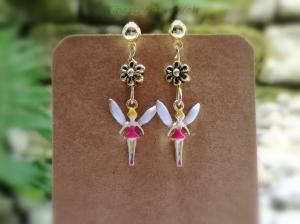 Ohrringe, Fee, Elfe, Engel, Blume, Emaille, Glücksbringer, Geschenk, Geschenkidee - Handarbeit kaufen