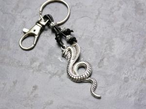 Schlüsselanhänger, Kobra, Schlange, Reptil, Echtleder, Karabinerhaken, Geschenk für Männer - Handarbeit kaufen