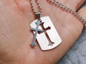 Edelstahl, trennbares Kreuz, Kugelkette, Geschenk für Männer, Geschenk für Frauen