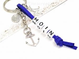 Personalisierbarer Schlüsselanhänger, Moin, Anker, Muschel, Ostsee, Nordsee, Geschenk - Handarbeit kaufen