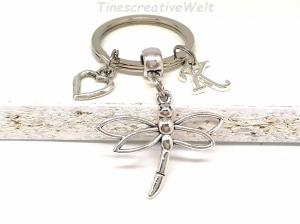 Personalisierter Schlüsselanhänger, Libelle, Herz, Geschenk - Handarbeit kaufen