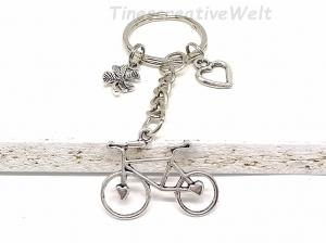 Schlüsselanhänger, Fahrrad, Kleeblatt, Herz, Glücksbringer, Geschenk - Handarbeit kaufen