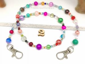 Kunterbunte Maskenkette aus Perlen, Glasperlen, Maskenband, Halter für Maske, Behelfsmaske, Halterung, Geschenk Frauen - Handarbeit kaufen