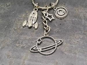 Schlüsselanhänger, Rakete, Saturn, Planet, Weltall, Stern, Geschenk, Mann, Junge - Handarbeit kaufen