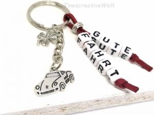 Schlüsselanhänger, Auto, Gute Fahrt, Führerschein, Glücksbringer, Kleeblatt, Geschenk - Handarbeit kaufen