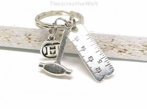 Schlüsselanhänger, Maßband, Hammer, Handwerker, Taschenanhänger, Geschenk für Männer - Handarbeit kaufen