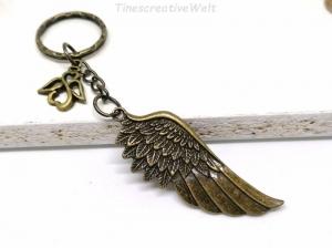 Schlüsselanhänger, Engelsflügel, Schutzengel, Taschenanhänger, Glücksbringer, Geschenk für Männer und Frauen - Handarbeit kaufen