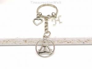 Personalisierter Schlüsselanhänger, Yoga, Buddha, Herz, Om, Geschenkidee - Handarbeit kaufen