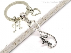 Personalisierter Infinity Schlüsselanhänger, Unendlichkeit, Hope, Hoffnung, Herz, Glücksbringer, Taschenanhänger, Geschenk - Handarbeit kaufen