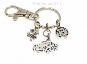 Schlüsselanhänger, personalisiert, Auto, Kleeblatt, Glücksbringer, Karabinerhaken mit Wirbel, Autoreise, Geschenk - Handarbeit kaufen