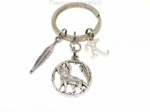 Personalisierter Schlüsselanhänger, Feder, Wolf, Mond, Geschenk für Männer - Handarbeit kaufen