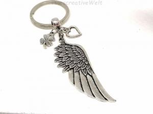 Schlüsselanhänger, Engelsflügel, Herz, Kleeblatt, Taschenanhänger, Glücksbringer, Geschenkidee