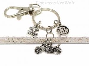 Schlüsselanhänger, personalisiert, Motorrad, Kleeblatt, Glücksbringer, Karabinerhaken mit Wirbel, fahr vorsichtig, Geschenk - Handarbeit kaufen