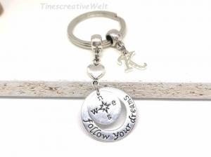 Personalisierter Schlüsselanhänger, Follow your Dream, Kompass, Himmelsrichtungen, Glücksbringer, Geschenk für Männer - Handarbeit kaufen