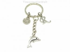 Personalisierter Schlüsselanhänger, Delfin, Muschel, Maritim, Geschenk - Handarbeit kaufen