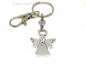 Schlüsselanhänger, Schutzengel, Glücksbringer, Herz, Taschenanhänger, Karabinerhaken mit Wirbel, Geburtstagsgeschenk - Handarbeit kaufen