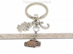 Personalisierter Schlüsselanhänger, Auto, Schutzengel, Glücksbringer, Herz, Autoreise, Geschenk - Handarbeit kaufen