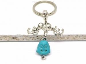 Personalisierter Schlüsselanhänger, Buddha, Om, Peace, Boho, Yogaanhänger, Taschenanhänger, Geschenk, VERSCHIEDENE FARBEN - Handarbeit kaufen