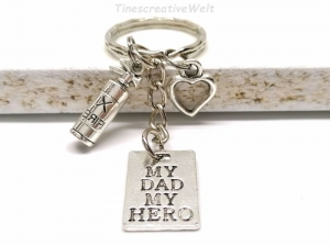 Schlüsselanhänger, Held, Feuerwehr, Feuerlöscher, Bester Papa, Herz, Taschenanhänger, Schlüsselbund, Geschenk für Vater - Handarbeit kaufen
