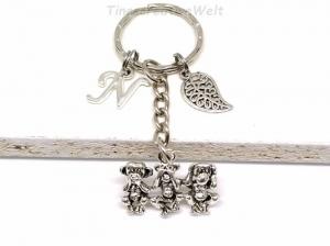 3 Affen, Schlüsselanhänger, personalisiert, Weisheit, nichts sprechen, nichts sehen, nichts hören, Taschenanhänger, Blatt, Natur, Geschenk - Handarbeit kaufen