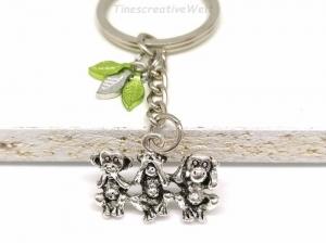 3 Affen, Schlüsselanhänger, Weisheit, nichts sprechen, nichts sehen, nichts hören, Taschenanhänger, Blatt, Natur, Geschenk  Frauen, Männer - Handarbeit kaufen