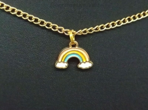 Kette, Regenbogen, Wolken, Emaille, bunt, Regenbogenkette, Geschenk - Handarbeit kaufen