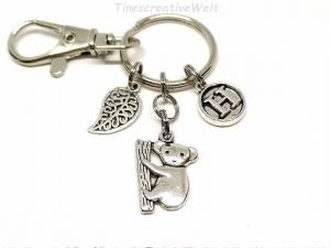 Personalisierter Schlüsselanhänger, Koala, Koalabär, Bär, Karabinerhaken mit Wirbel, Taschenanhänger, Geschenk Frauen - Handarbeit kaufen