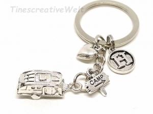 Personalisierter Schlüsselanhänger, Wohnwagen, 3D, Herz, Glücksbringer, Autoreise, Geschenk für Frauen, Geschenk für Männer - Handarbeit kaufen