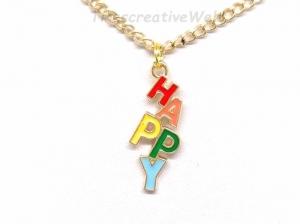 Halskette, Happy, Emaille, Glücklich sein, Glücksbringer, Geschenk - Handarbeit kaufen