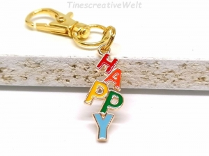 Ohrringe, Happy, Emaille, Glücklich sein, Hängeohrringe, Glücksbringer, Geschenk (Kopie id: 100277005) - Handarbeit kaufen
