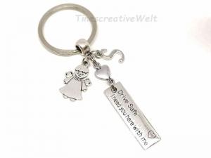 Personalisierter Schlüsselanhänger, Drive Safe, Schutzengel, Fahr vorsichtig, Auto, Glücksbringer, Herz, Autoreise, Geschenk - Handarbeit kaufen