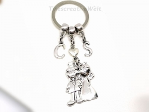 Personalisierter Schlüsselanhänger, Braut, Bräutigam, Hochzeit, Hochzeitspaar, Herz, Taschenanhänger, Geschenk - Handarbeit kaufen