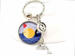 Personalisierter Schlüsselanhänger, Fisch, Delfin, Herz, Meer, Urlaub, Geschenk - Handarbeit kaufen