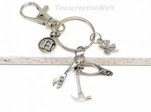 Schlüsselanhänger personalisiert, Hammer, Zange, Schraubenschlüssel, Kleeblatt, Handwerker, Klemptner, Werkzeug, Glücksbringer - Handarbeit kaufen