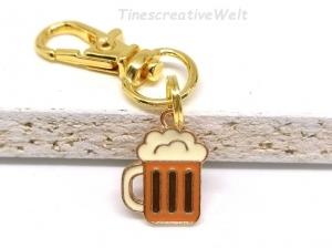 Schlüsselanhänger, Bierkrug, Emaille, Geschenk Freund, JGA - Handarbeit kaufen