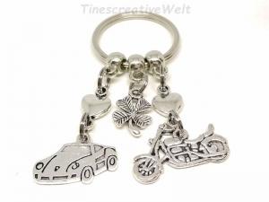 Schlüsselanhänger, Motorrad, Auto, fahr vorsichtig, Führerschein, Herz, Kleeblatt, Glücksbringer, Geschenk, Geburtstag - Handarbeit kaufen
