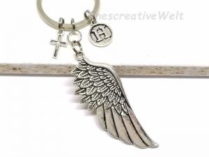 Personalisierter Schlüsselanhänger, Engelsflügel, Herz, Taschenanhänger, Glücksbringer, Geschenkidee  - Handarbeit kaufen