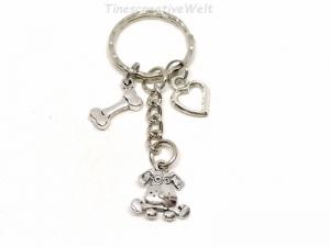 Schlüsselanhänger, Hund, Knochen, Herz, Taschenanhänger, Wechselanhänger, Geschenk für Hundebesitzer - Handarbeit kaufen