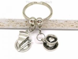 Schlüsselanhänger, Kaffee, Tee, 3D Tasse, Kuchen, Bäcker, Herz, Taschenanhänger, Bäckereiverkäuferin, backen - Handarbeit kaufen