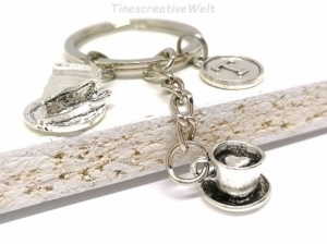 Personalisierter Schlüsselanhänger, 3D Tasse, Kaffee, Tee, Kuchen, Bäcker, Herz, Taschenanhänger, Bäckereiverkäuferin, Geschenk - Handarbeit kaufen