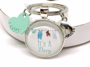 Schlüsselanhänger, Baby, Junge, Mädchen, Babyfüße, Glücksbringer, Glasabochon, Herz, Schwangerschaft, Taufe, Geburt, Geschenk - Handarbeit kaufen