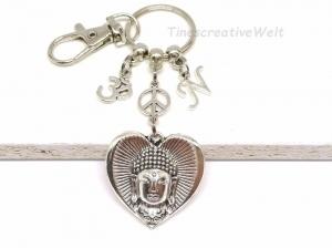 Personalisierter Schlüsselanhänger, Buddha, Yoga, OM, Herz, Peace, Taschenanhänger, Quaste, Karabinerhaken mit Wirbel, Geschenk - Handarbeit kaufen