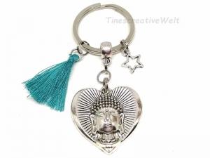 Buddha, Schlüsselanhänger, Yoga, OM, Herz, Stern, Taschenanhänger, Quaste, Tassel, Geschenk für Frauen und Männer, VERSCHIEDENE FARBEN - Handarbeit kaufen