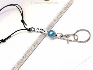 Personalisiertes Schlüsselband aus Leder, Wunschname, Wort, Geschenk, Wunschfarbe, VERSCHIEDENE FARBEN - Handarbeit kaufen