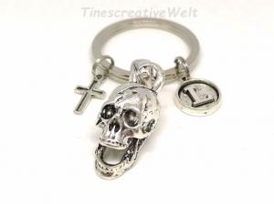 Schlüsselanhänger personalisiert, Schädel, Skull, Totenkopf, Kreuz, Geschenk für Männer - Handarbeit kaufen