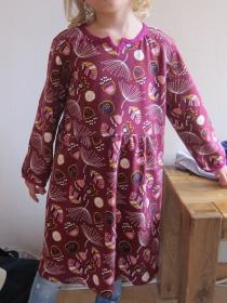 Langarm Bio Jersey Kleid Burgunder Blaubeer Traum Größe 128 Herbst Kleid mit langen Armen - Handarbeit kaufen