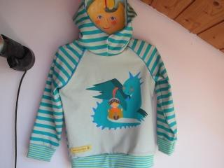 Drachenliebe Baby Hoody Sweatshirt Jacke in Öko Baumwolle Größe 86-92, Schlupf Hoodie pfefferminze. Drachen und Buch lesendes Kinds - Handarbeit kaufen