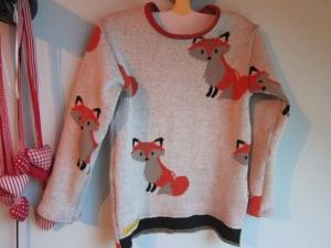 Kinder Jacquard Pullover in Öko Baumwolle  Fuchsmotiv Größe 98 - Handarbeit kaufen