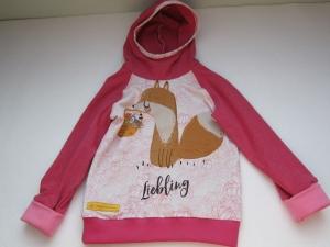 Drachenliebe Baby Hoody Sweatshirt Jacke in Öko Baumwolle Größe 86-92, Schlupf Hoodie rosa. Liebling Fuchs - Handarbeit kaufen